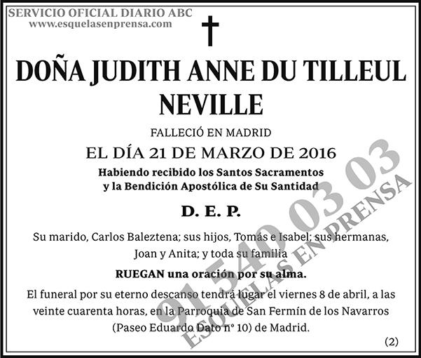 Judith Anne Du Tilleul Neville